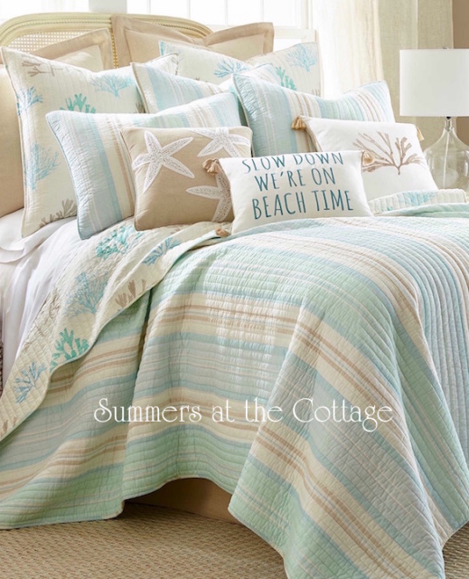 COASTAL SEA GLASS AQUA TAUPE CABANA STRIPE BEACH COTTAGE REEF KING ... : beachy quilts - Adamdwight.com