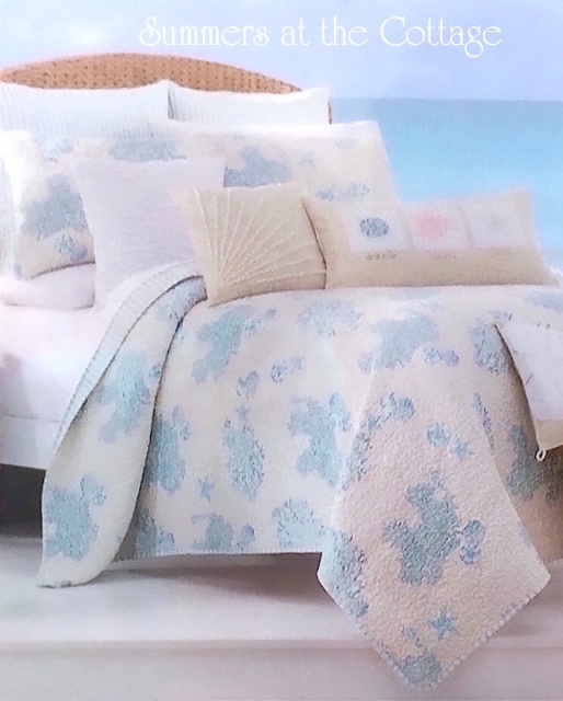 COASTAL LIVING SEA GLASS AQUA BLUE CORAL REEF CABANA STRIPE BEACH HOUSE  CHIC QUILT SET. View Images