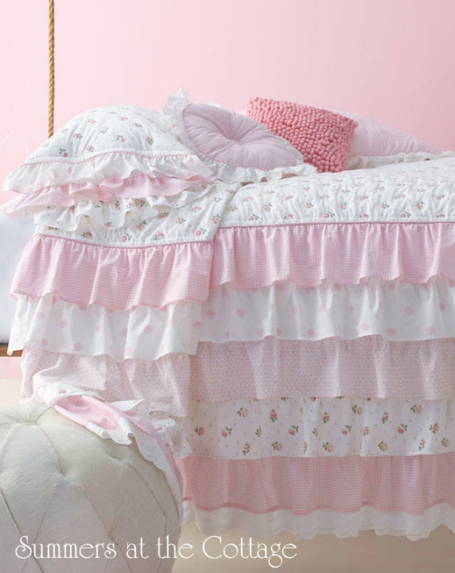 French Ruffle Cottage Colors Petticoat Ruffle Pink Roses