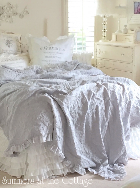 French Cottage Gray Matelasse Coverlet White Linen Ruffle