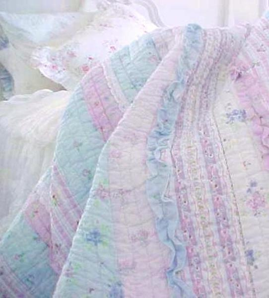 Lavender Blue Ruffles Lace Roses, Pink Purple Bedspread Queen