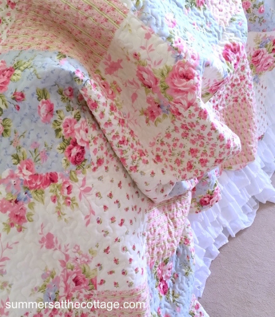 Shabby Pink Roses Cottage Blue Patchwork Chic Quilt Set