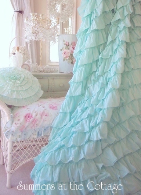 Aqua Teal Ruffled Shower Curtain Shabby Beach Cottage Chic