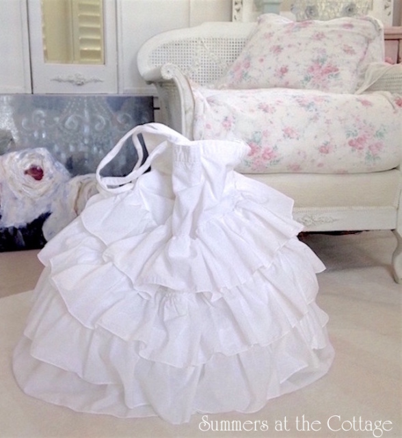 Anthropologie White French Ruffle Chic Laundry Bag