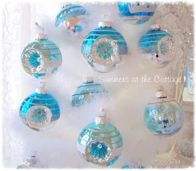 Aqua Christmas Tree Skirt: AQUA BLUE GLASS CHRISTMAS TREE ORNAMENT WHITE FROSTED DESIGN