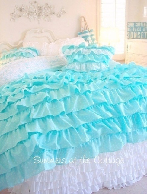 Aqua ruffle bedding shabby cottage chic layers of dreamy aqua ruffles