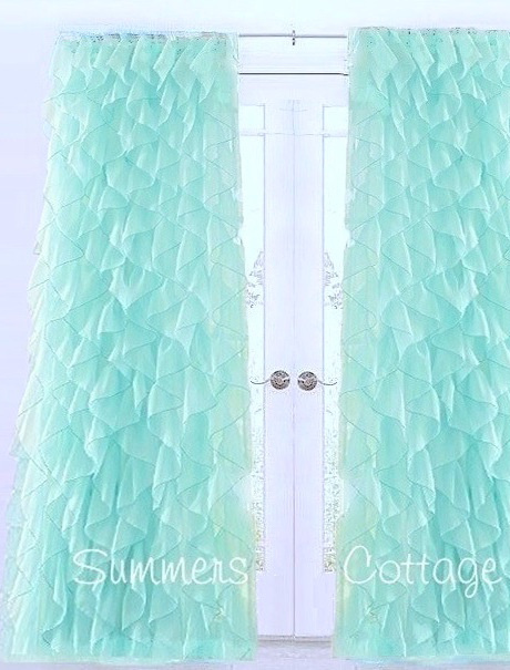 Beach Window Curtains Part - 22: SHABBY BEACH COTTAGE CHIC AQUA DREAMY RUFFLED CURTAIN DRAPE PANEL. View  Images