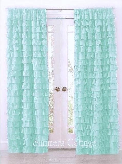Dreamy Ruffled Curtain Drape Panel Shabby Beach Cottage