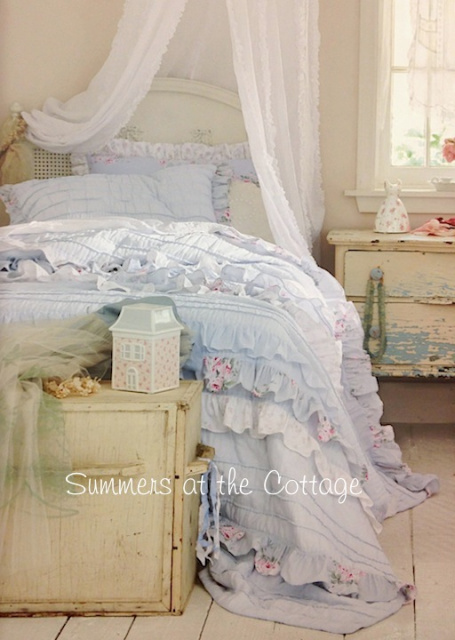 Bella Blue Pink Roses Shabby Cottage Chic Petticoat