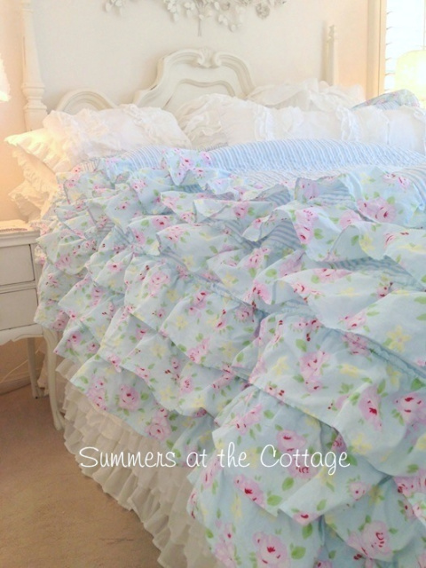 Shabby Beach Cottage Blue Chic Petticoat Ruffled Quilt