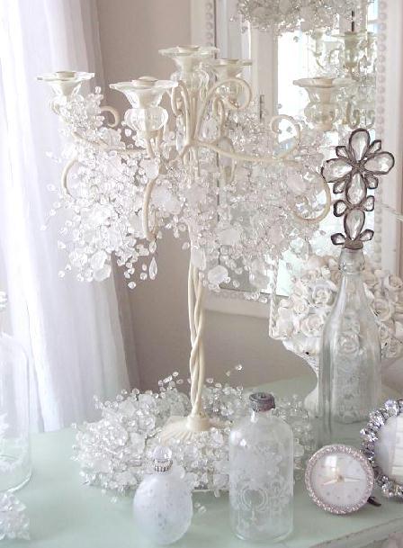 Chandelier garland shabby romantic beaded crystal chic - Navidad shabby chic ...