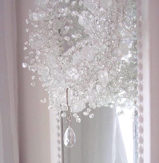 ROMANTIC SHABBY CRYSTAL CHANDELIER DROPS SHOWER CURTAIN HOOKS CHIC View Images
