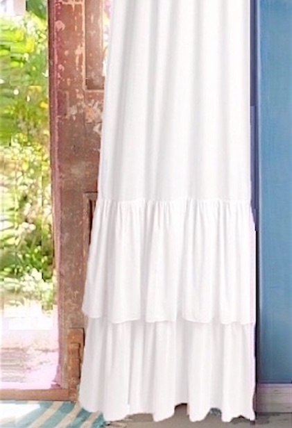 White Flounce French Ruffle Curtain