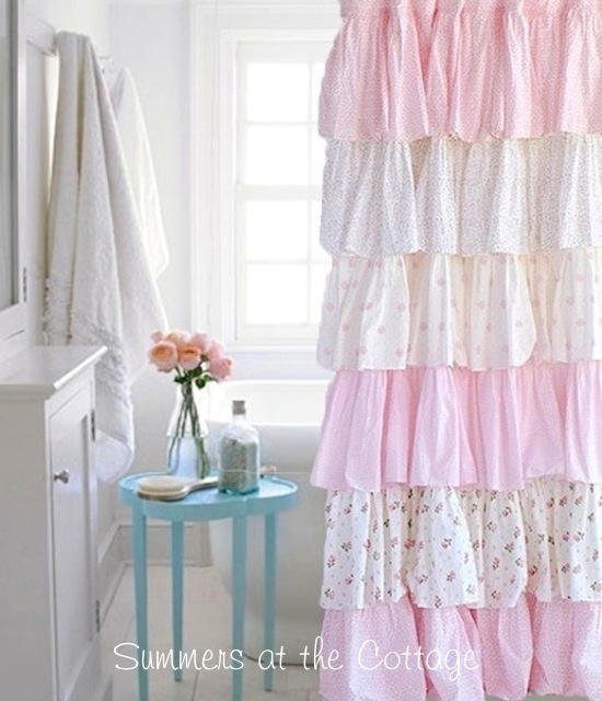 Shabby Chic Beach Cottage Shower Curtains White Ruffles Pink Roses ...
