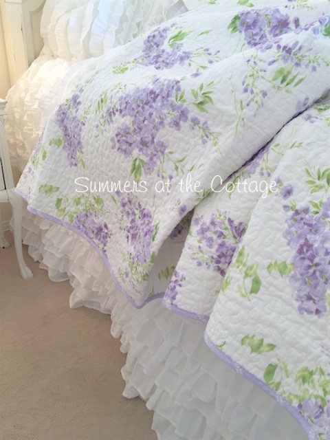 Shabby Cottage Chic Lavender Wisteria Lilac Quilt Pillow