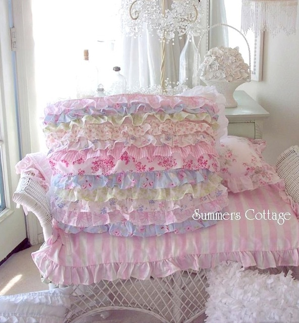 PETTICOAT RUFFLES PILLOW SHAM PINK ROSES BEACH BLUE COTTAGE COLORS CHIC