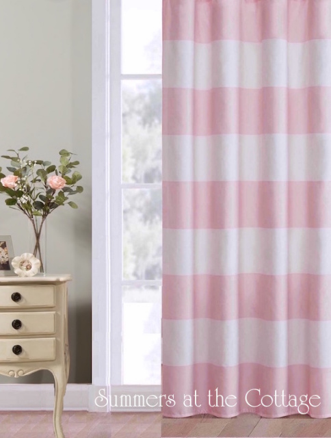 Shabby Beach Chic Pink White Cabana Stripe Curtains Drape Panels Set Of Two