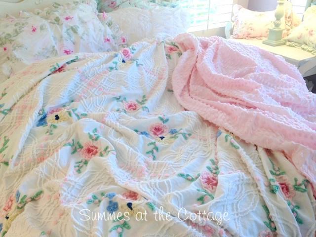 Pink Popcorn Roses Vintage Chenille Bedspread Blue Cottage