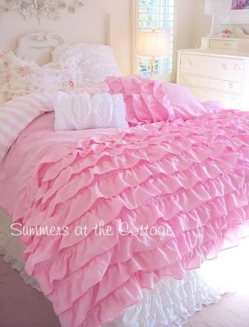 pink ruffle shower curtain