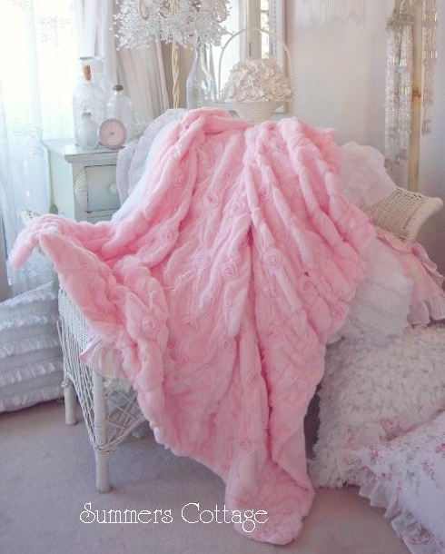 Shabby Pink Fur Satin Ribbon Ruffle Roses Chic Throw Soft