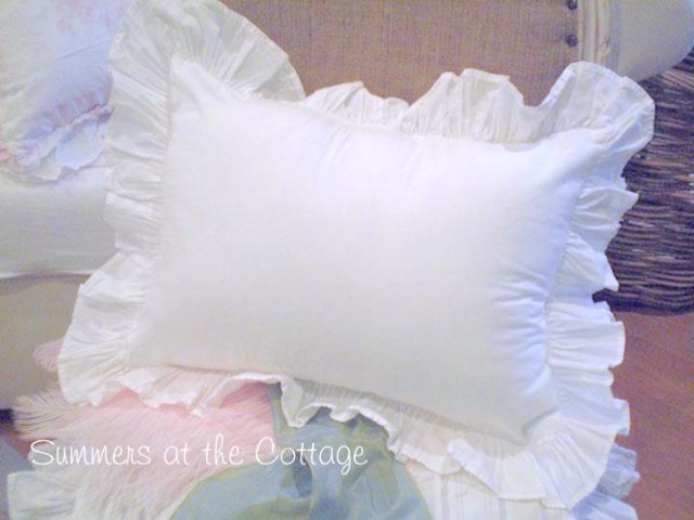 Shabby Chic Bed Pillows : SHABBY CHIC POPLIN WHITE RUFFLE PILLOW SHAM