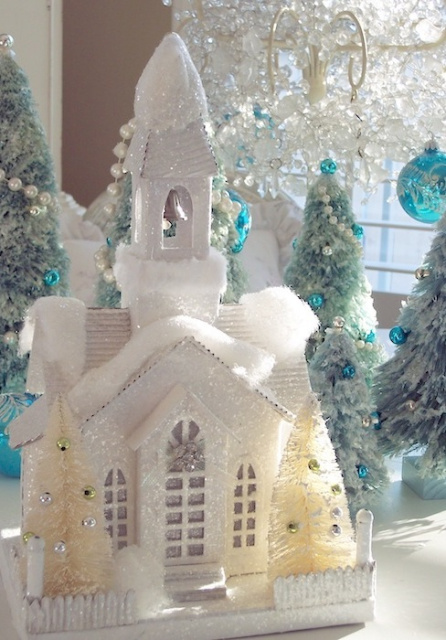 Winter White Christmas Snow Church Glitter Flocked Glowing