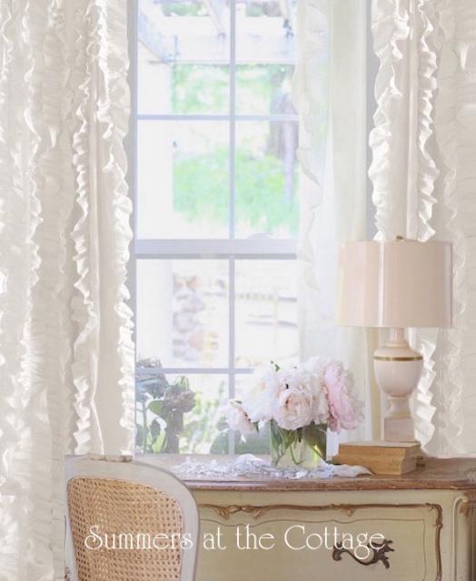 White Ruffle Curtain Drape Panel Shabby Petticoat Ruffles Chic