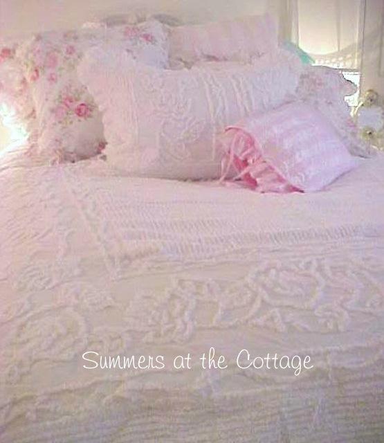 Rachel Ashwell White Roses Chenille Comforter Ruffles