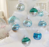 SHINY BRITE GLASS ORNAMENTS SET FLOCKED MERRY CHRISTMAS SILENT NIGHT SANTA'S SLEIGH & MORE