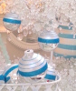 VINTAGE BEACH HOUSE SHINY BRITE TURQUOISE HARBOR STRIPE GLITTER GLASS ORNAMENTS SET