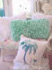 BEACH HOUSE AQUA SEAGLASS RAG RUFFLES COTTAGE CHIC or PALM TREE PILLOW