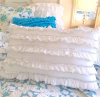 SUMMER HOUSE COTTAGE CHIC WHITE PETTICOAT RUFFLES BLUE TRIM ACCENT PILLOW