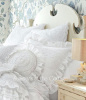 GRACEFUL RUFFLES VINTAGE CHIC WHITE RUFFLED PILLOW SHAM