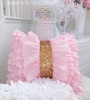 PINK RUFFLES & CHAMPAGNE GOLD SEQUINS PILLOW COTTAGE CHIC