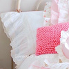 PRETTY WHITE FRENCH RUFFLE ROSES LACE RIBBON WHISPER OF WHIMSY PILLOWCASES