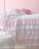 FRENCH RUFFLE COTTAGE COLORS PETTICOAT RUFFLE PINK ROSES BEDSPREAD SET - Includes Bedspread, Pillow Sham & Accent Pillow!