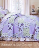 LAVENDER ROSES ASHLEY SAGE DITSY ROSE PATCHWORK QUILT SET