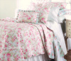 SUMMERS COTTAGE PINK PEONY VINTAGE ROSES WHITE REVERSIBLE AQUA QUILT SET