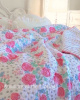 SUMMER HOUSE BEACH COTTAGE WHIMSICAL PINK ROSES AQUA BLUE DOVE GRAY DOTS & STRIPES QUEEN QUILT