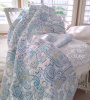 PAISLEY AQUA BLUE TURQUOISE TEAL FLORAL QUILT SET PILLOW SHAMS WAVES OF SEA GLASS COLORS