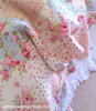 SHABBY PINK ROSES COTTAGE BLUE PATCHWORK CHIC QUILT SET - QUEEN or KING
