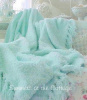 SHABBY COTTAGE AQUA THROW BLANKET CHIC FRINGE COZY FOR WHITE WICKER OVERSTUFFED CHAIR