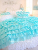 KING SHABBY COTTAGE CHIC LAYERS OF DREAMY AQUA PETTICOAT RUFFLES DUVET COMFORTER COVER SET