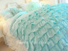SHABBY BEACH COTTAGE AQUA RUFFLES CHIC COMFORTER SET TWIN or FULL / QUEEN