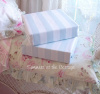 SHABBY SUMMER BEACH HOUSE CHIC BLUE CABANA STRIPE QUEEN SHEET SET