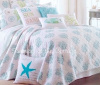 SEASIDE COTTAGE SEA GLASS BLUE CORAL REEF WHITE BEACH HOUSE CHIC CABANA STRIPE BEDDING