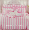 SUMMER BEACH HOUSE PINK WHITE CABANA STRIPE TWIN QUILT