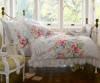 3 PIECE SHABBY WHITE RUFFLES VINTAGE VICTORIAN COUNTRY COTTAGE CHIC QUEEN DUVET SET