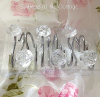 SHABBY CRYSTAL ROSES CLEAR CHIC SHOWER CURTAIN HOOKS SET OF 12
