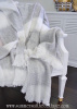 DOVE GRAY CREAMY WHITE CABANA STRIPE FRINGE THROW BLANKET FRENCH COUNTRY COTTAGE CHIC